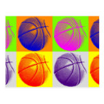 4 Colors Pop Art Basketball Postcard