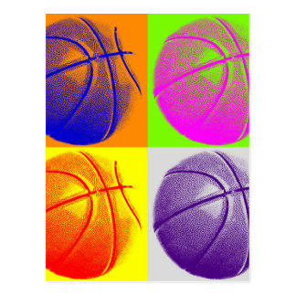 4 Colors Pop Art Basketball Post Cards