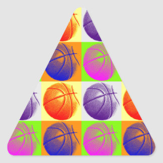 4 Colors Pop Art Basketball Triangle Sticker
