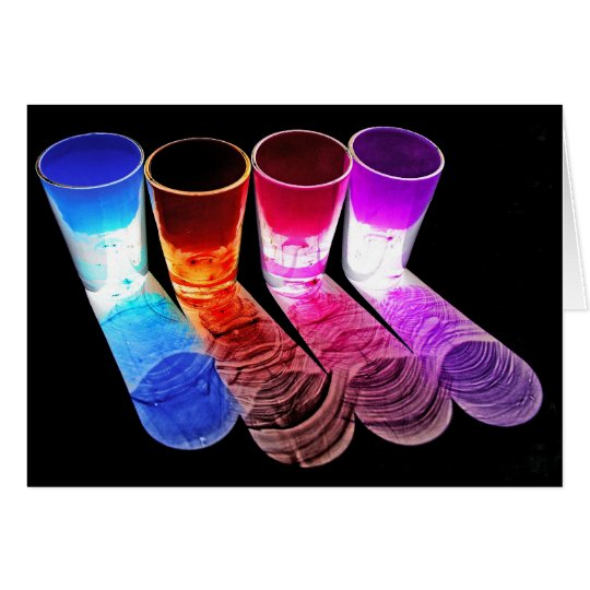 4 Coloured Cocktail Shot Glasses -Style 2 Card