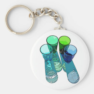 4 Coloured Cocktail Shot Glasses -Style 4 Key Chains