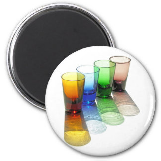 4 Coloured Cocktail Shot Glasses -Style 6 2 Inch Round Magnet