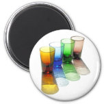 4 Coloured Cocktail Shot Glasses -Style 6 Magnets