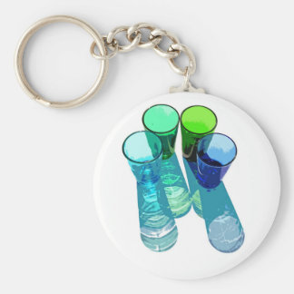 4 Coloured Cocktail Shot Glasses -Style 8 Keychain