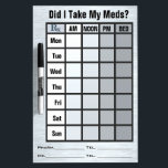 """4 Column Medication Check List - Personalized Dry-Erase Board<br><div class=""""desc"""">Be prepared for those &quot;Senior Moments&quot; by keeping track of when you&#39;ve taken your meds with this handy dandy easy to read dry erase board! By special request, a 4 column grayscale version of IconDoIt&#39;s original Medication Check List on a simulated brushed steel background, PLUS custom text fields to personalize...</div>"""