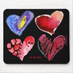 4 corazones 4 Mousepad siempre negro Tapetes De Ratón