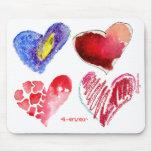 4 corazones 4 nunca en Mousepad blanco Alfombrilla De Ratón