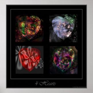 4 corazones ajustan el poster póster