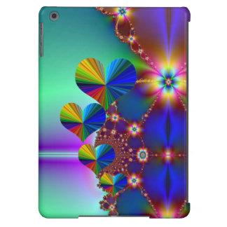 4 corazones del arco iris y estrellas de la flor funda para iPad air