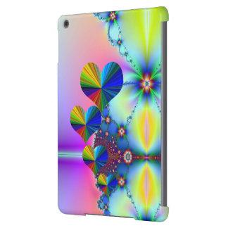 4 corazones del arco iris y flor amarilla funda para iPad air