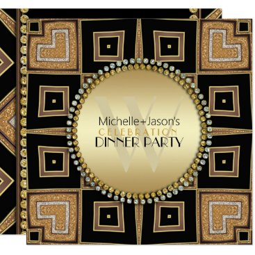 Aztec Themed 4 Corners of Love Black Gold Art Deco Dinner Party Card
