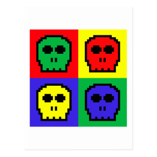 4 cráneos de 8 bits retros del color