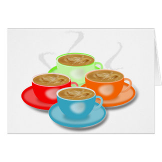 4 Cups of Coffee Note Cards