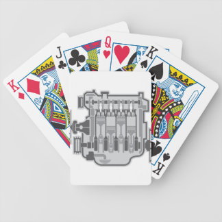 4 cylinder engine vector bicycle playing cards