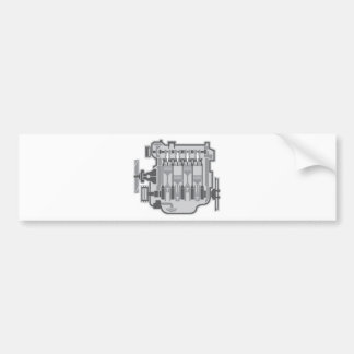 4 cylinder engine vector bumper sticker