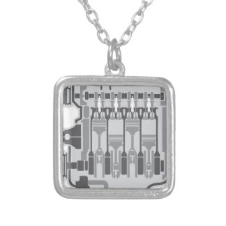4 cylinder engine vector silver plated necklace
