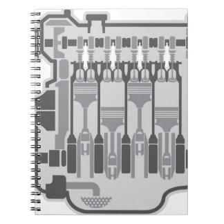 4 cylinder engine vector spiral notebook