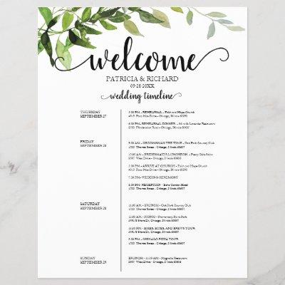 4 Days Wedding Itinerary Elegant Greenery