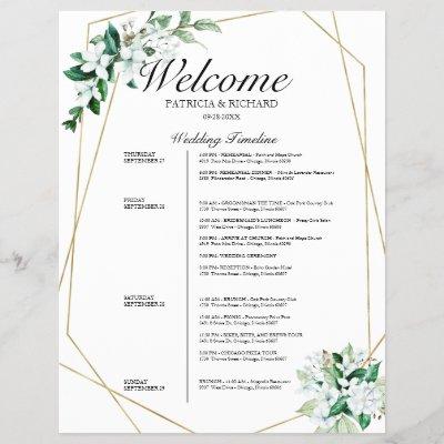 4 Days Wedding Itinerary Geometric Greenery