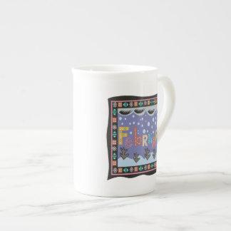 4 de febrero taza de porcelana