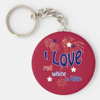 4 de julio amo llavero blanco y azul rojo