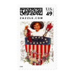 4 de julio arte patriótico de la postal del envio
