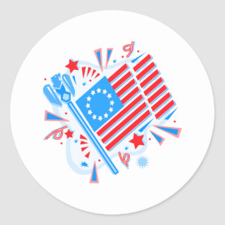 4 de julio bandera pegatinas redondas