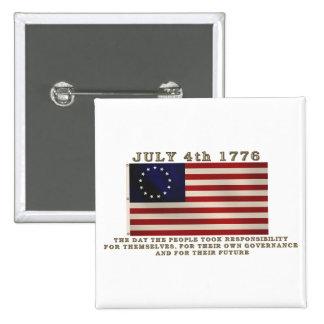 4 de julio bandera pin cuadrado