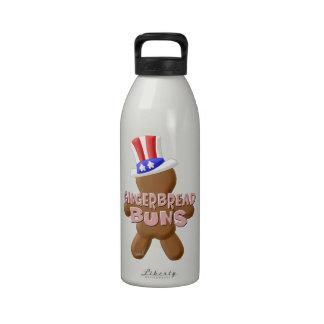 4 de julio bollos del pan de jengibre botellas de agua reutilizables