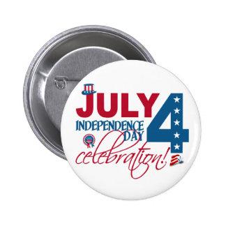 4 de julio botón de la celebración pin redondo de 2 pulgadas
