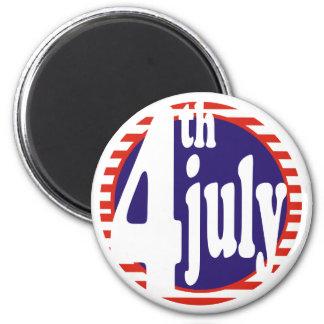 4 de julio celebración del cumpleaños imán redondo 5 cm