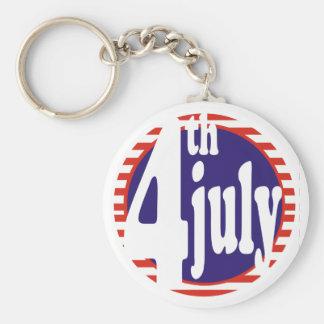 4 de julio celebración del cumpleaños llavero redondo tipo pin