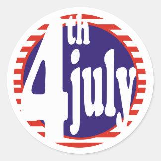 4 de julio celebración del cumpleaños pegatina redonda