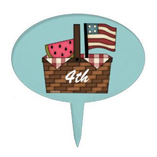 4 de julio - cesta de la comida campestre de la ba figuras para tartas