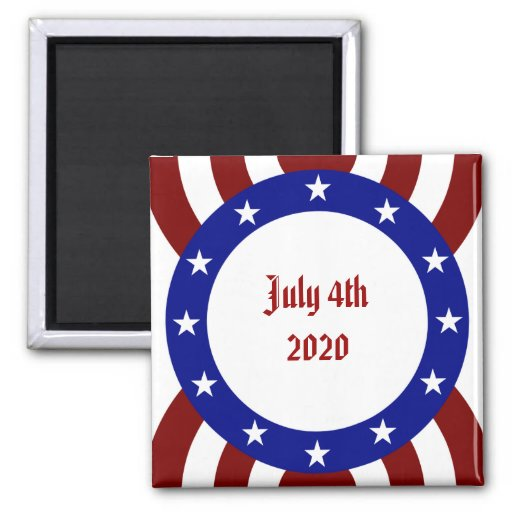 4 de julio círculo patriótico de estrellas imán cuadrado