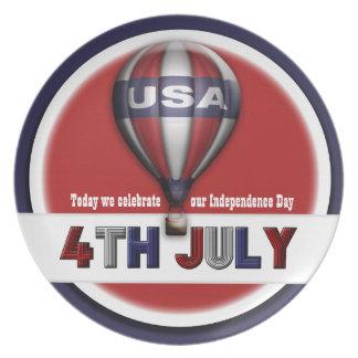 4 de julio Día de la Independencia de los E.E.U.U. Platos De Comidas