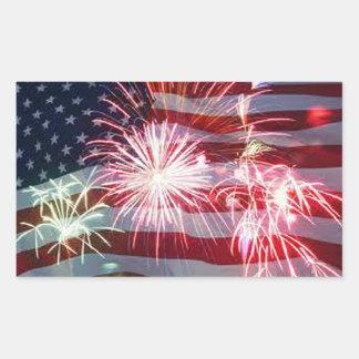 4 de julio Día de la Independencia de los Rectangular Pegatinas