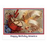 4 de julio doodle del yanqui del vintage postal