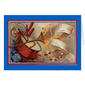 4 de julio doodle del yanqui del vintage tarjeta de felicitación