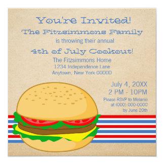 4 de julio el Cookout rayado del Bbq invita Invitación 13,3 Cm X 13,3cm