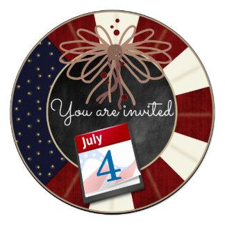 """4 de julio el fiesta de la pizarra del Día de la Invitación 5.25"""" X 5.25"""""""