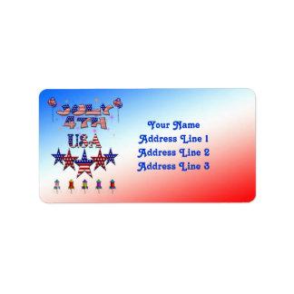 4 de julio etiquetas de dirección de los E.E.U.U.
