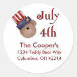 4 de julio etiquetas de dirección del oso de etiqueta redonda
