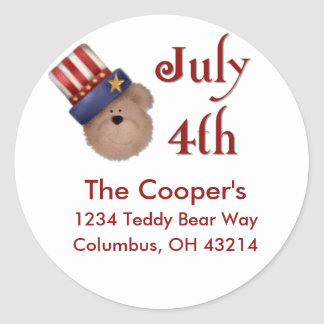 4 de julio etiquetas de dirección del oso de pegatina redonda