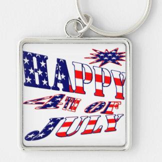 4 de julio feliz llavero cuadrado plateado