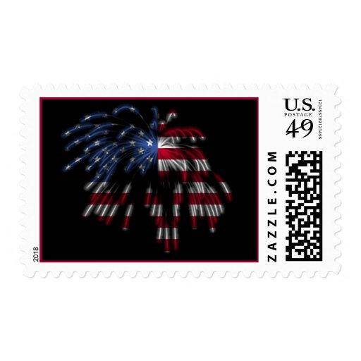 4 de julio fuegos artificiales y la bandera sellos postales