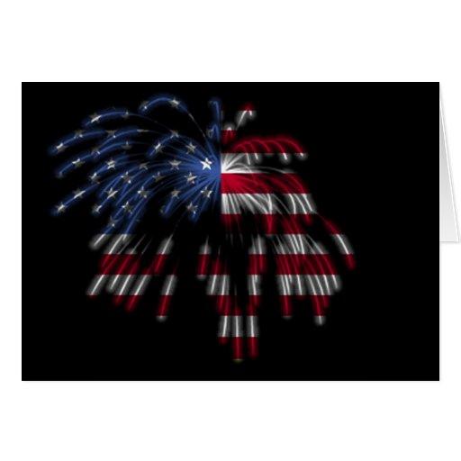 4 de julio fuegos artificiales y la bandera tarjeta de felicitación