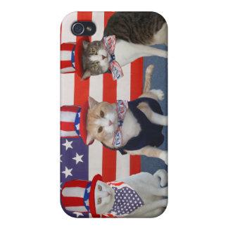 4 de julio gatos/gatitos de /Patriotic iPhone 4 Fundas
