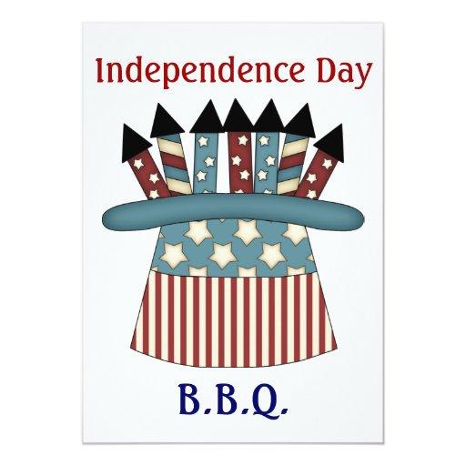 """4 de julio gorra de B.B.Q./Patriotic por completo Invitación 5"""" X 7"""""""