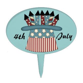 4 de julio - gorra de la bandera americana con los decoración de tarta